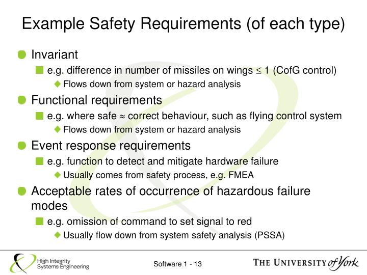 Example Safety Requirements (of each type)