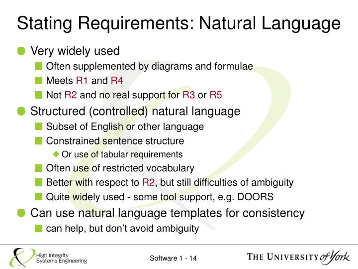 Stating Requirements: Natural Language