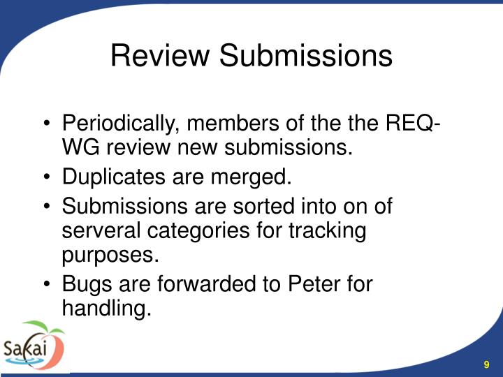 Periodically, members of the the REQ-WG review new submissions.