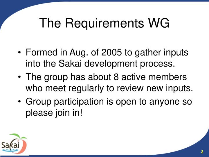 The requirements wg