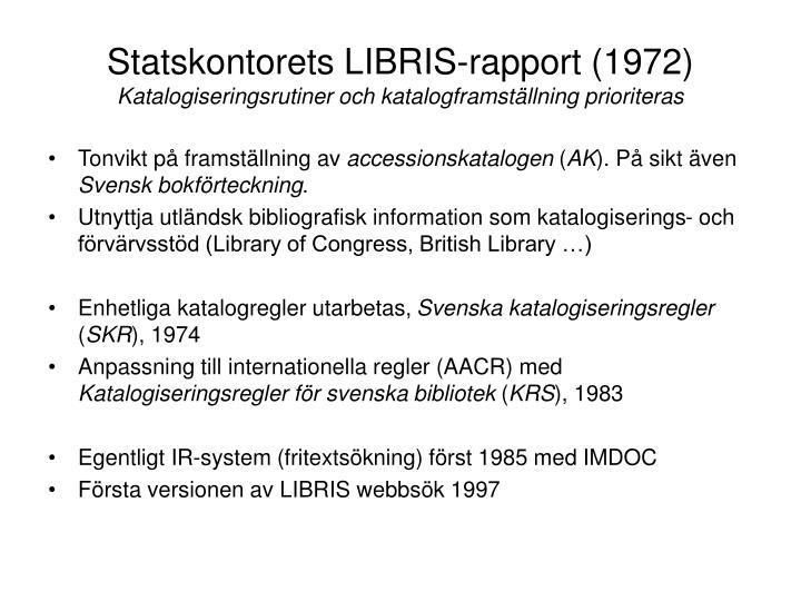 Statskontorets LIBRIS-rapport (1972)