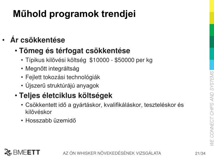 Műhold programok trendjei