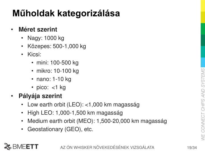 Műholdak kategorizálása