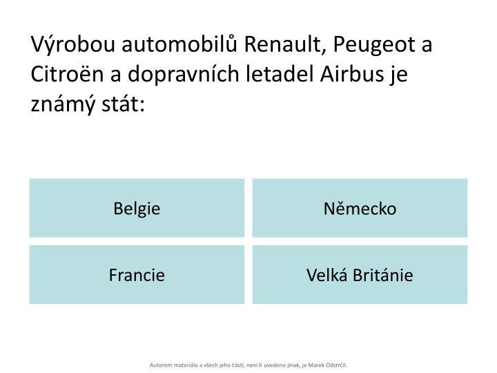 Výrobou automobilů Renault, Peugeot a Citroën a dopravních letadel Airbus je známý stát: