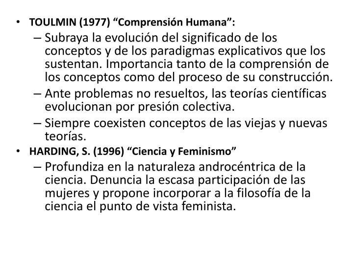 """TOULMIN (1977) """"Comprensión Humana"""":"""