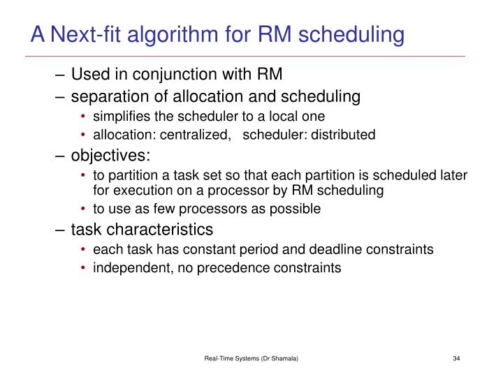 A Next-fit algorithm for RM scheduling