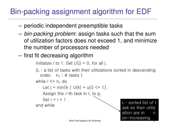 Bin-packing assignment algorithm for EDF