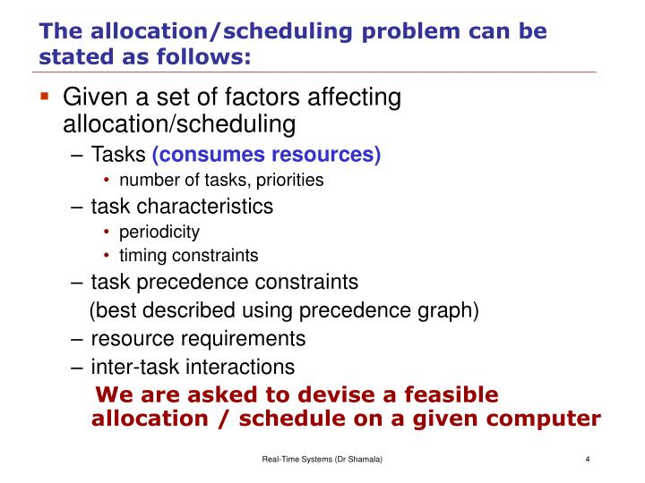 The allocation/scheduling problem can be stated as follows: