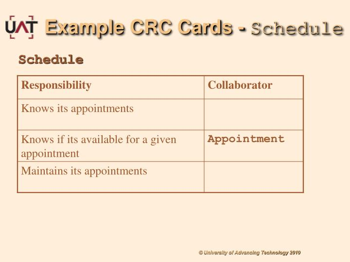 Example CRC Cards -