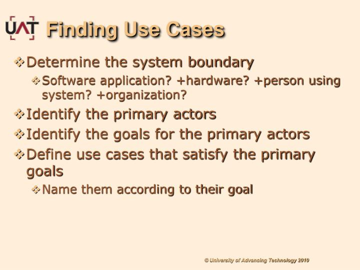Finding Use Cases
