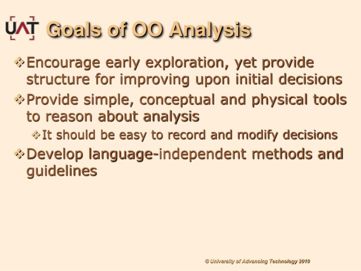 Goals of OO Analysis
