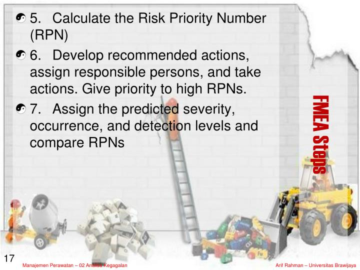 5. 	Calculate the Risk Priority Number (RPN)