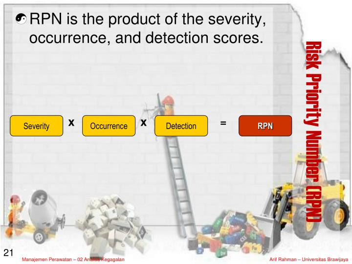 RPN is the product of the severity, occurrence, and detection scores.