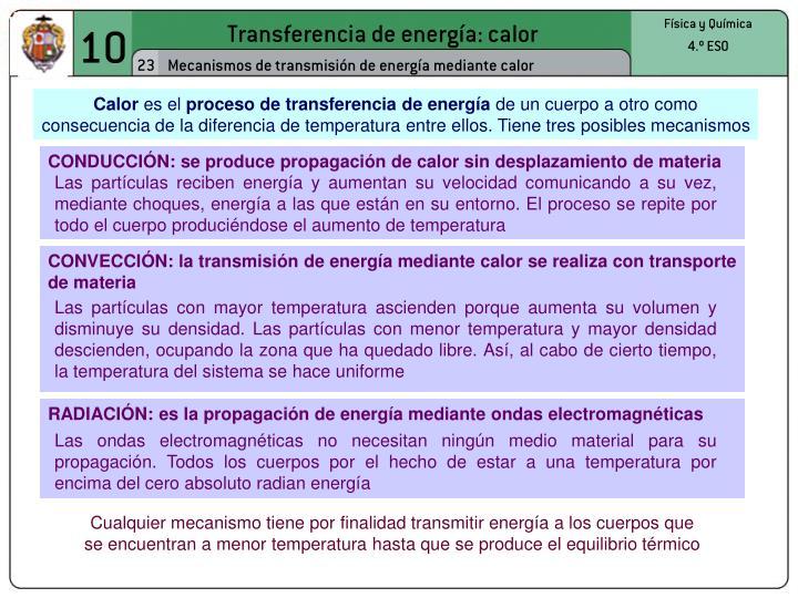 CONDUCCIÓN: se produce propagación de calor sin desplazamiento de materia