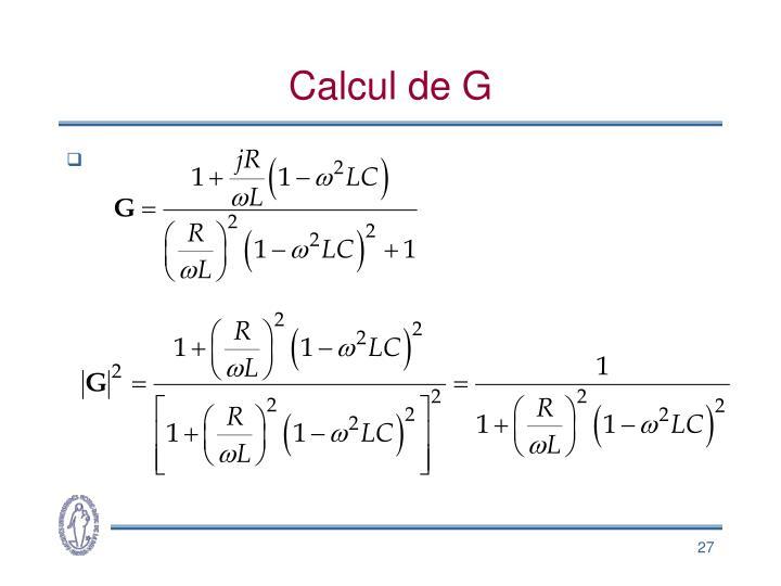 Calcul de G