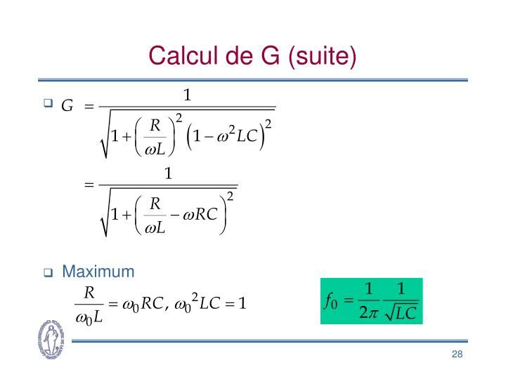 Calcul de G (suite)