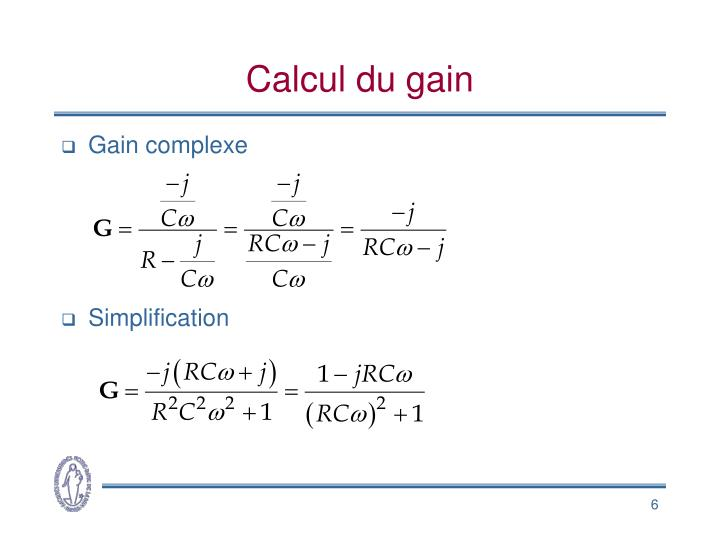 Calcul du gain