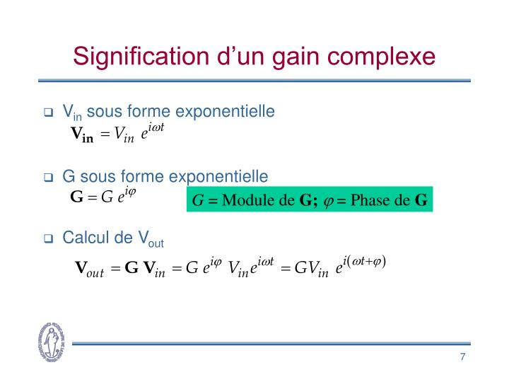 Signification d'un gain complexe