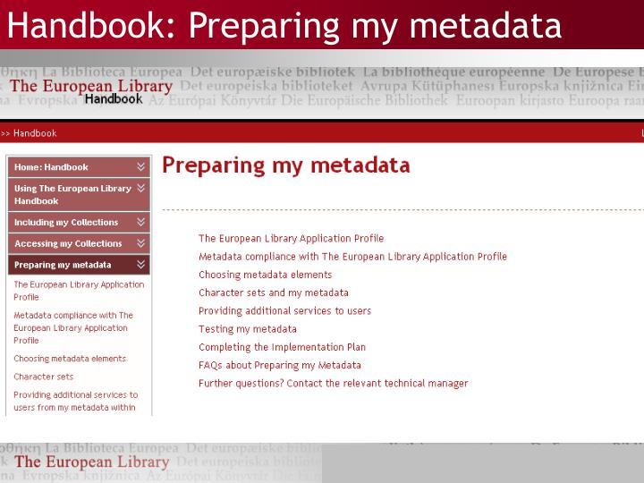 Handbook: Preparing my metadata