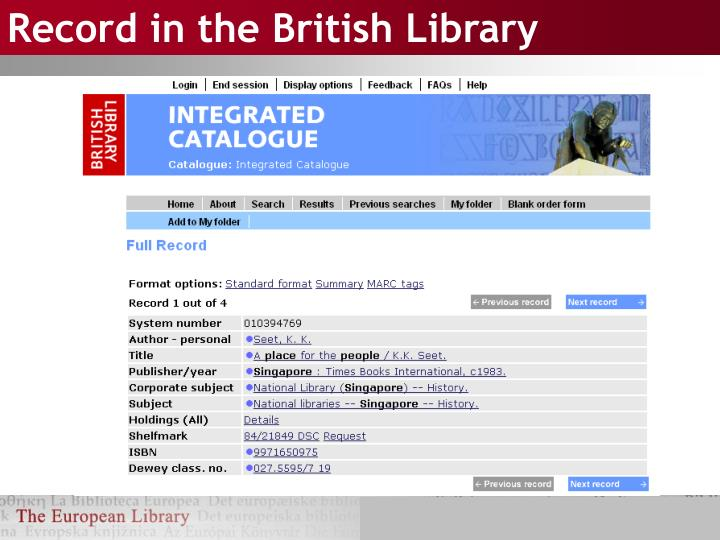 Record in the british library