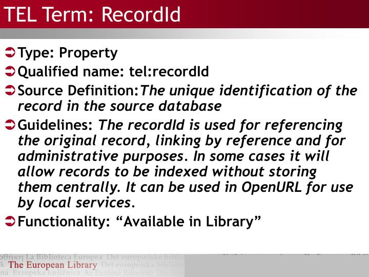 TEL Term: RecordId