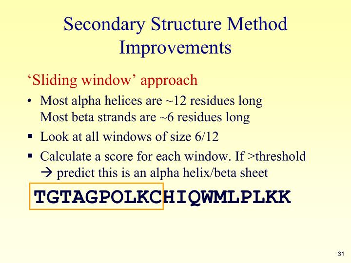 Secondary Structure Method Improvements