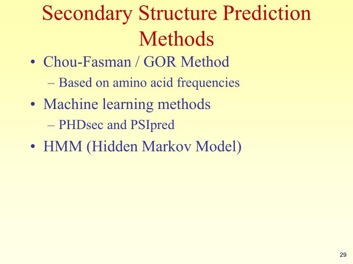 Secondary Structure Prediction Methods
