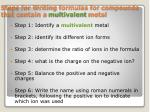 steps for writing formulas for compounds that contain a multivalent metal