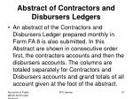 abstract of contractors and disbursers ledgers