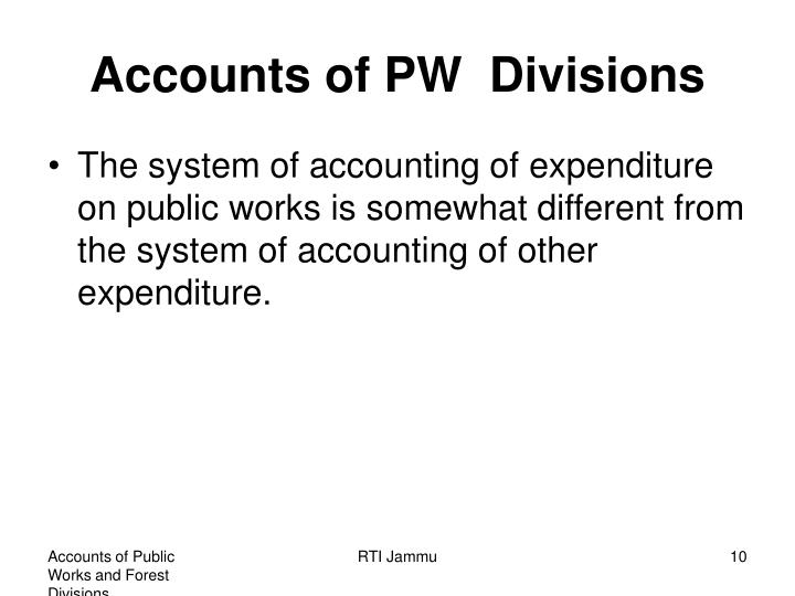Accounts of PW  Divisions