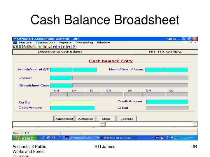 Cash Balance Broadsheet