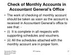 check of monthly accounts in accountant general s office