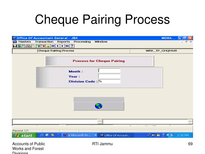 Cheque Pairing Process