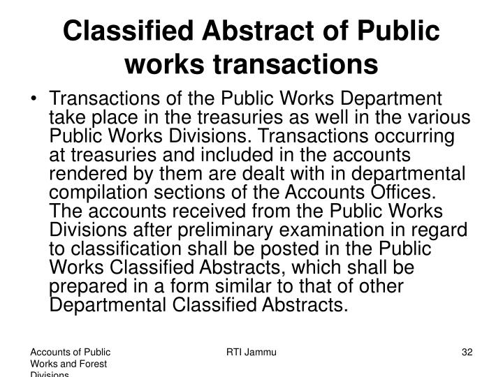 Classified Abstract of Public works transactions