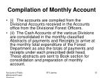 compilation of monthly account