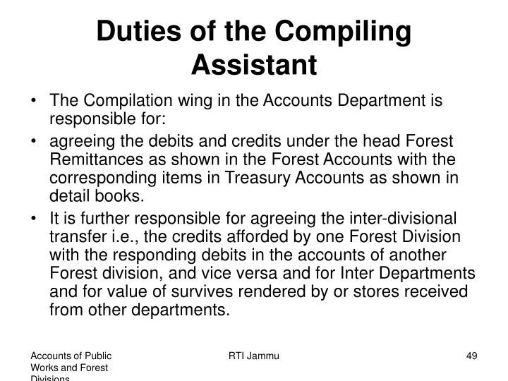 Duties of the Compiling Assistant