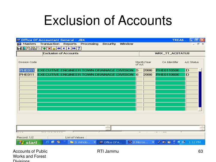Exclusion of Accounts