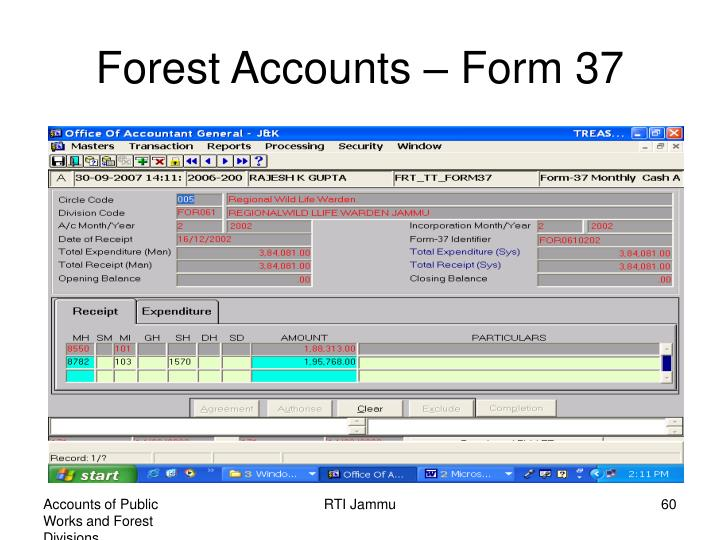 Forest Accounts – Form 37