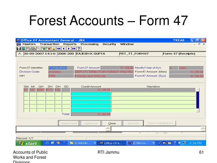 Forest Accounts – Form 47