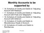 monthly accounts to be supported by3