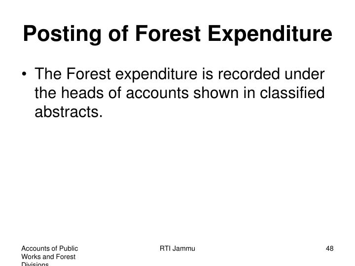 Posting of Forest Expenditure
