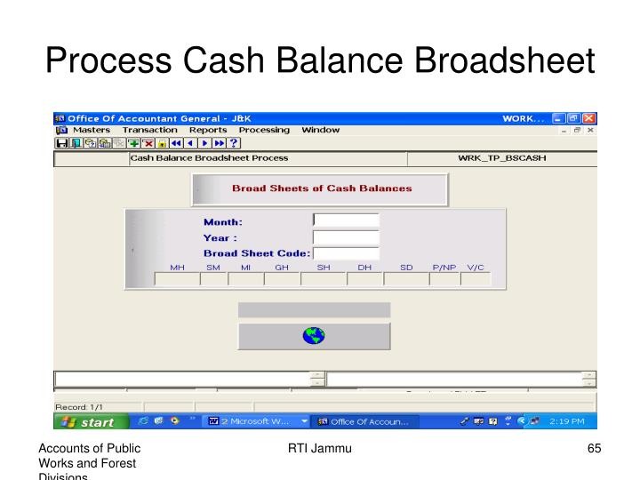 Process Cash Balance Broadsheet