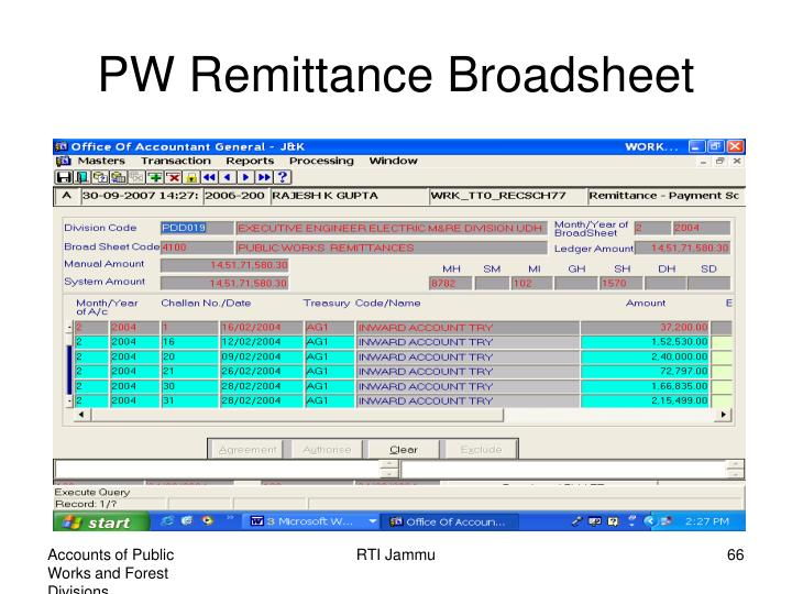 PW Remittance Broadsheet