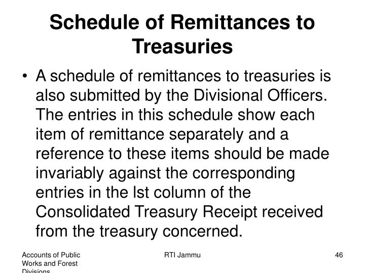 Schedule of Remittances to Treasuries