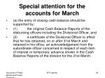 special attention for the accounts for march
