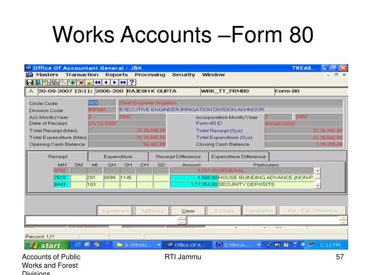 Works Accounts –Form 80
