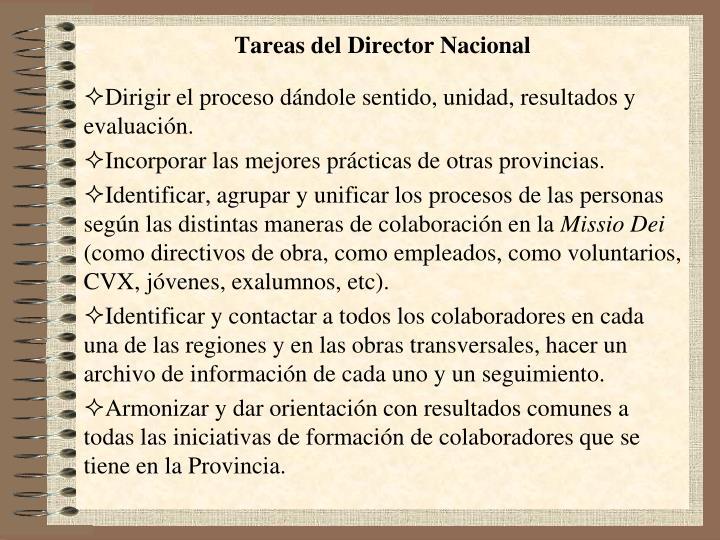 Tareas del Director Nacional
