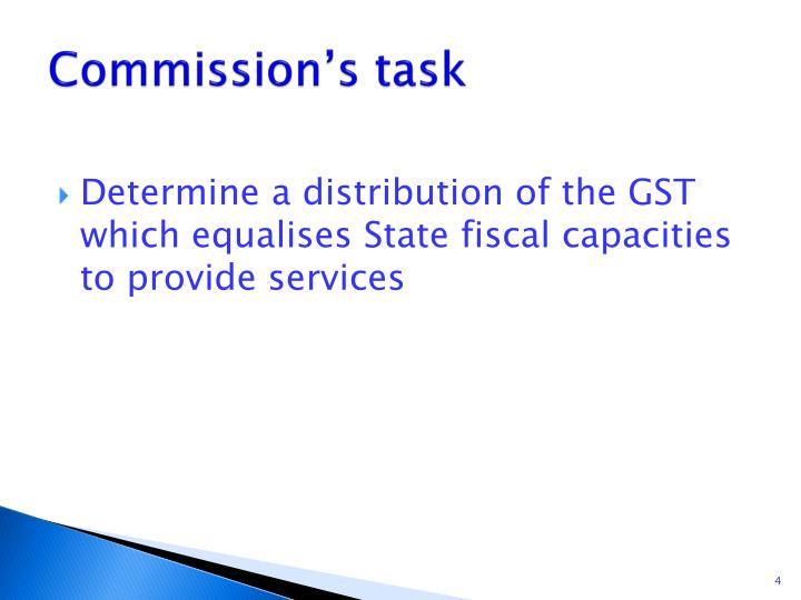 Commission's task