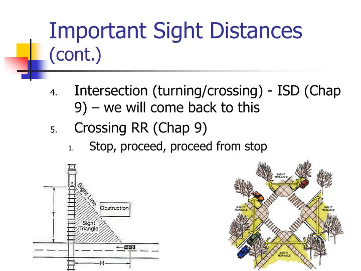 Important Sight Distances