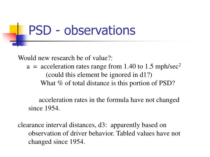PSD - observations